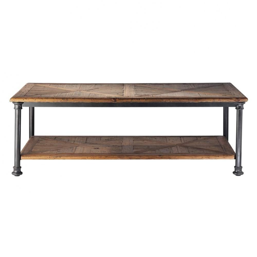 Table basse en bois recycl et m tal l 135 cm for Table basse maison du monde
