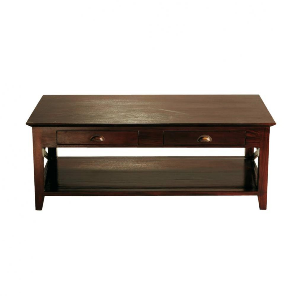 Table basse en mahogany massif l 120 cm acajou maisons for Table maison du monde