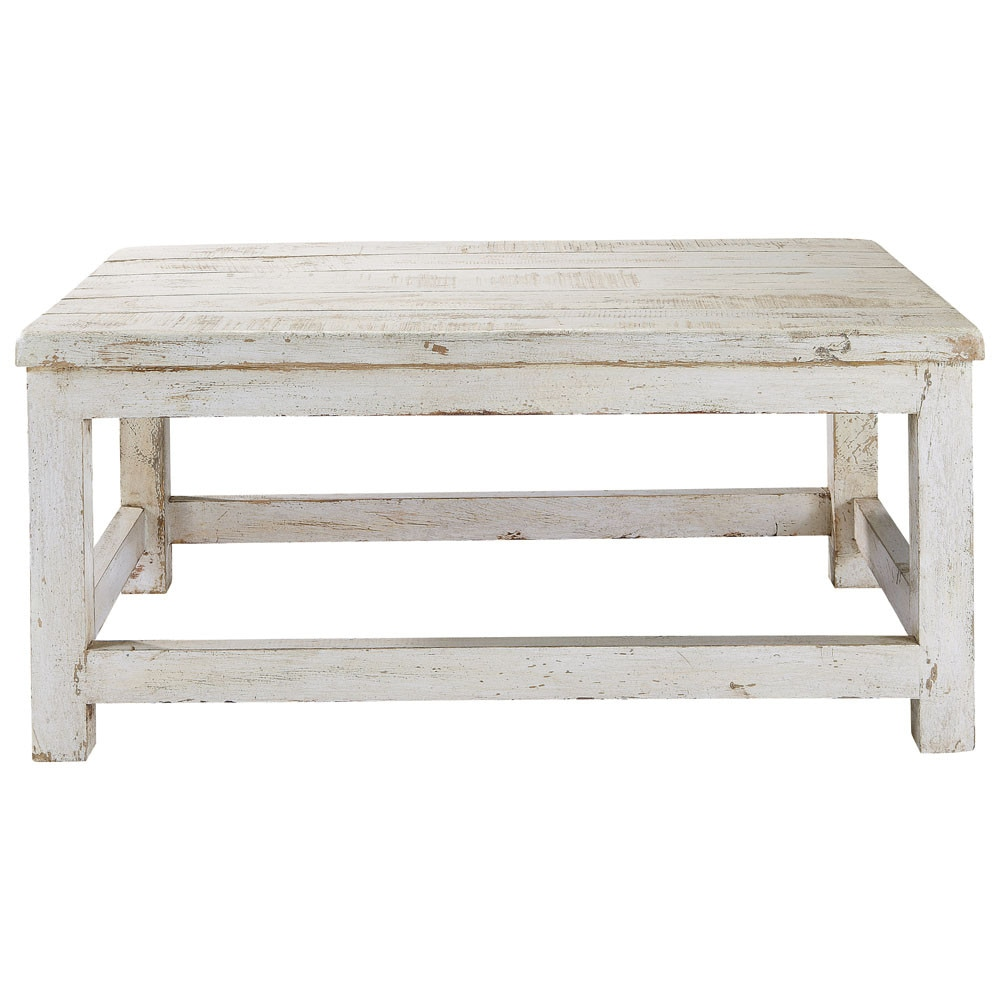 Table basse en manguier blanc vieilli l 90 cm avignon for Table basse blanche pied bois