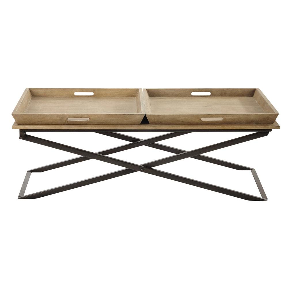 Table basse en manguier et m tal l 120 cm hippolyte - Table basse en manguier ...