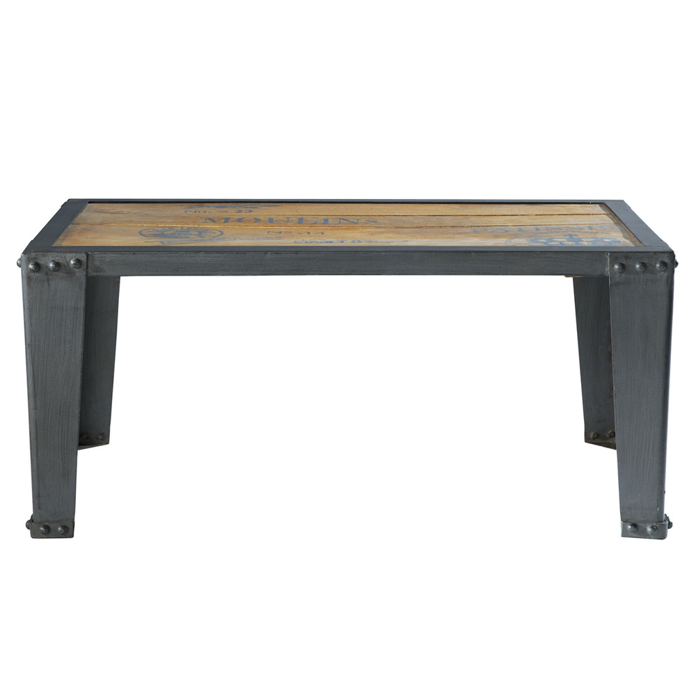 table basse en manguier massif et m tal l 105 cm. Black Bedroom Furniture Sets. Home Design Ideas