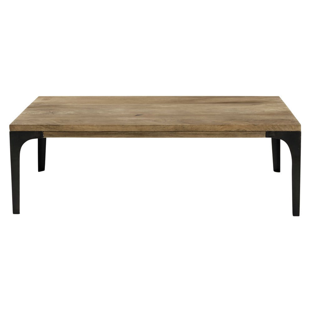 table basse en manguier massif et m tal l 110 cm. Black Bedroom Furniture Sets. Home Design Ideas