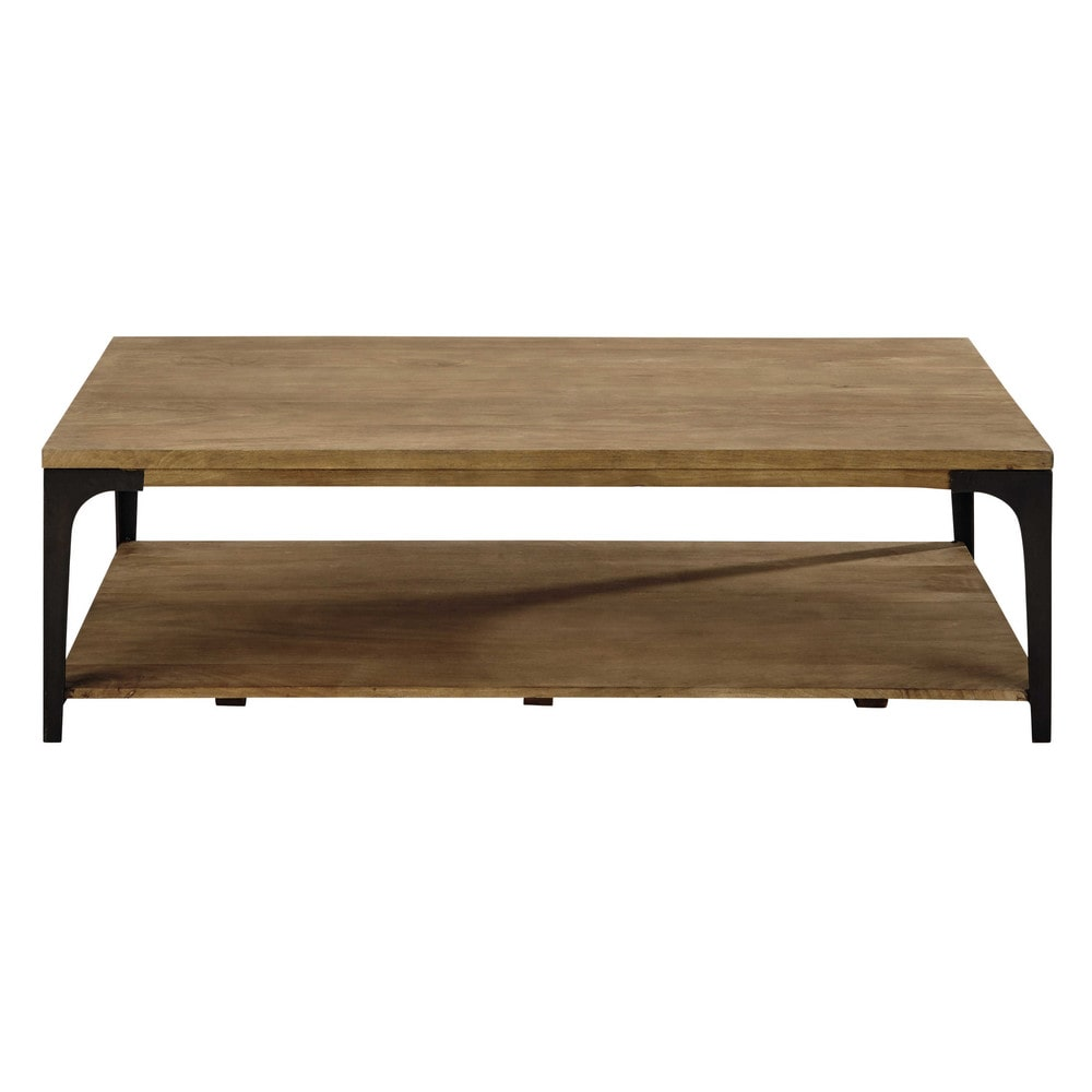 Table basse en manguier massif et m tal l 130 cm Table basse personnalisee photo