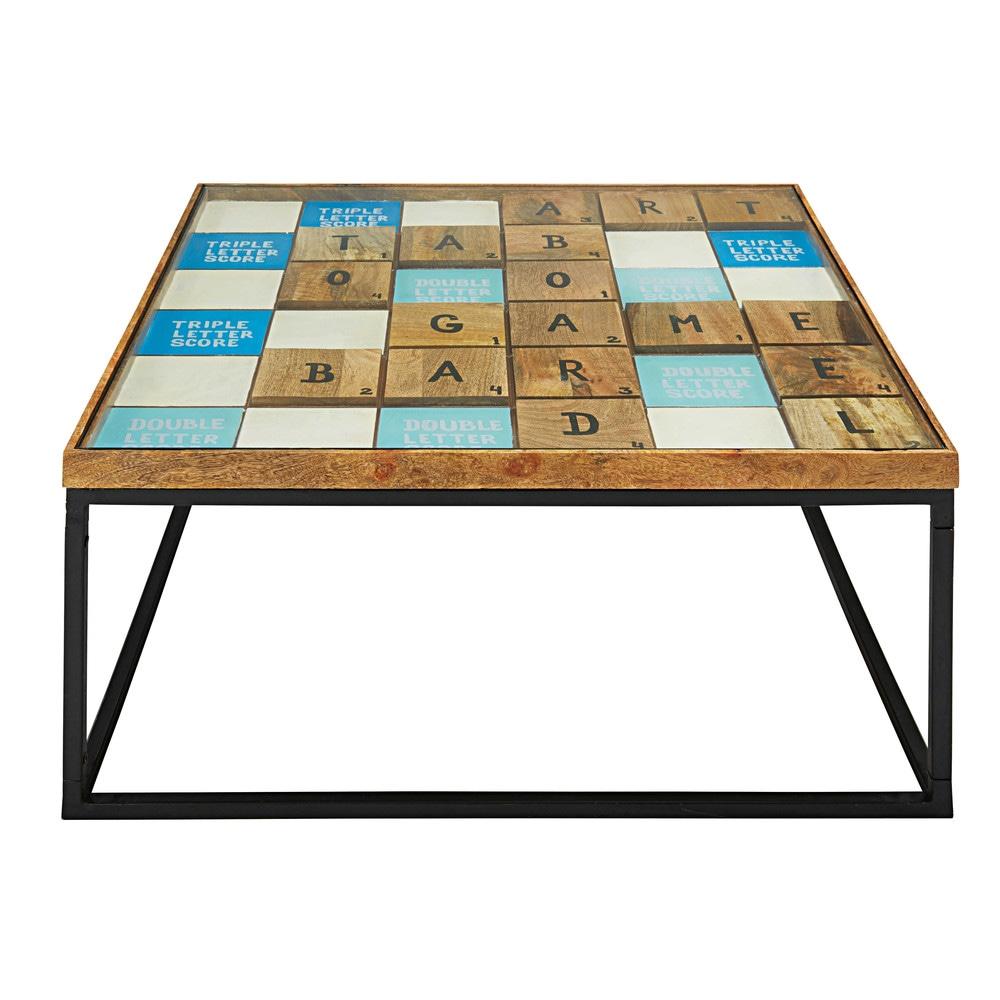 Table Basse En Manguier Massif Et Verre Scrabble Maisons