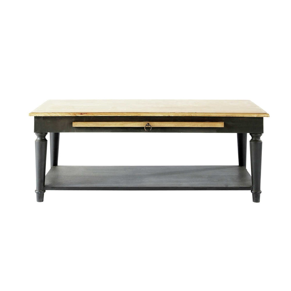 Table basse en manguier massif gris charbon l 115 cm - Table basse manguier ...