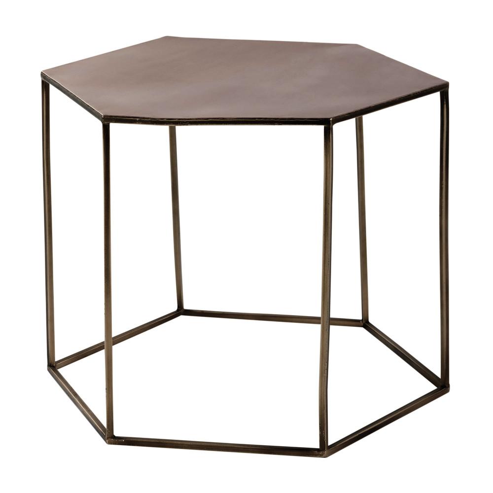 Table basse en m tal cuivr l 60 cm cooper maisons du monde for Table basse en l