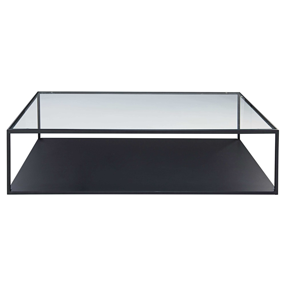 table basse en m tal noir et verre tremp watson maisons du monde. Black Bedroom Furniture Sets. Home Design Ideas