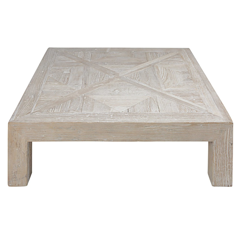 Table basse en orme massif recycl blanchi bruges for Meuble en orme massif blanchi