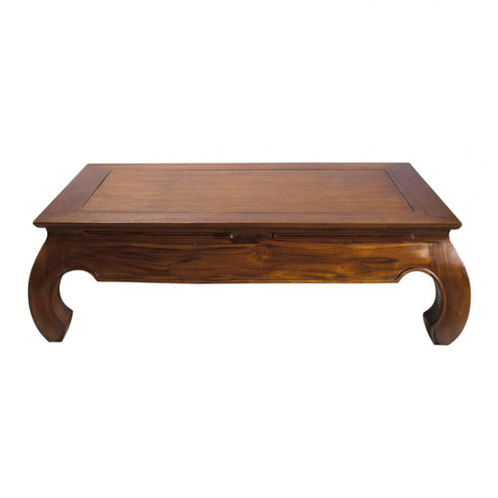 Table basse en teck massif l 122 cm opium maisons du monde - Table basse opium carree ...