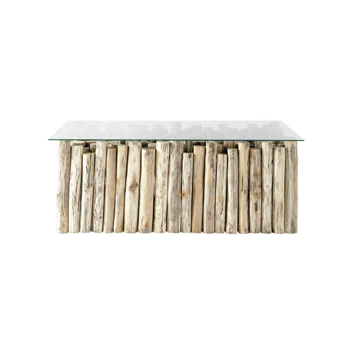Table Basse En Verre Et Teck Effet Vieilli L 110 Cm Dune Maisons