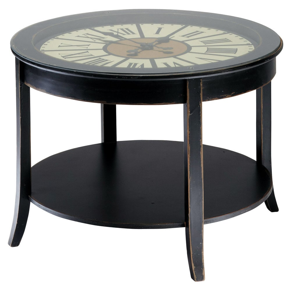 table basse horloge en bois noire l 72 cm teatime. Black Bedroom Furniture Sets. Home Design Ideas