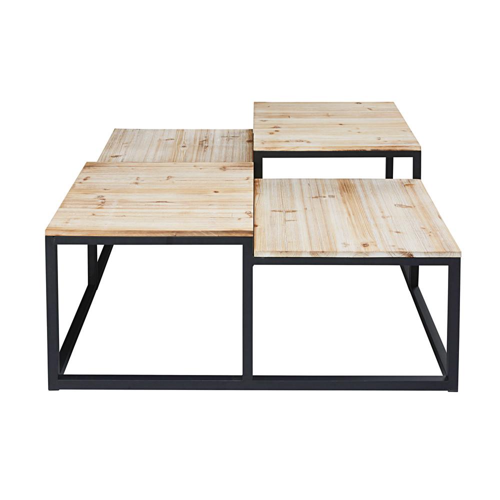 table basse indus 4 plateaux en sapin massif et m tal long island maisons du monde. Black Bedroom Furniture Sets. Home Design Ideas