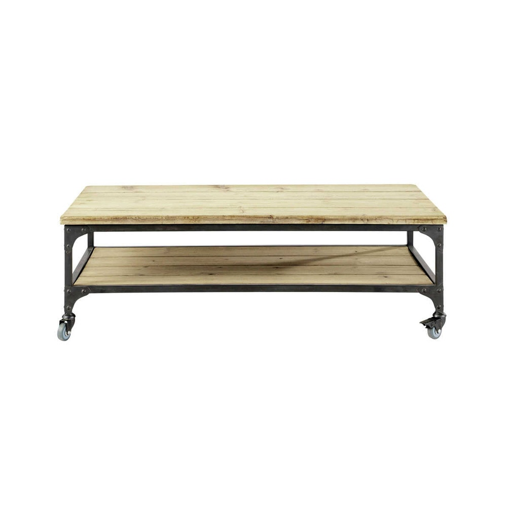 table basse indus roulettes en bois et m tal l 110 cm. Black Bedroom Furniture Sets. Home Design Ideas