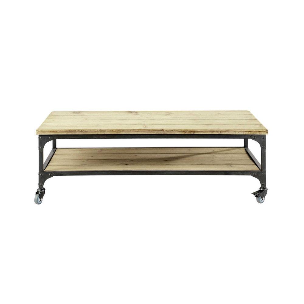 Table basse indus roulettes en bois et m tal l 110 cm gallieni maisons du monde for Table basse nomade