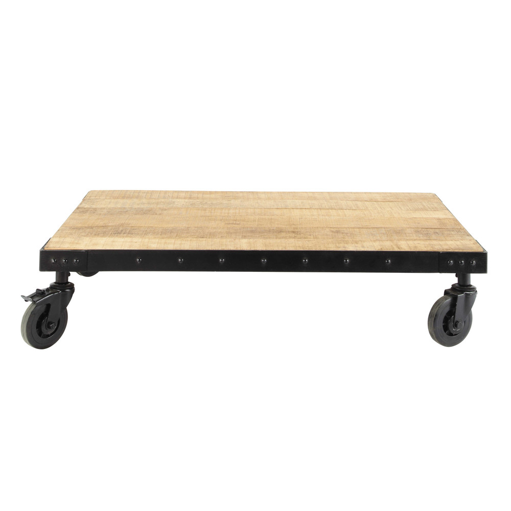 table basse indus roulettes en manguier massif et m tal l 130 cm factory maisons du monde. Black Bedroom Furniture Sets. Home Design Ideas