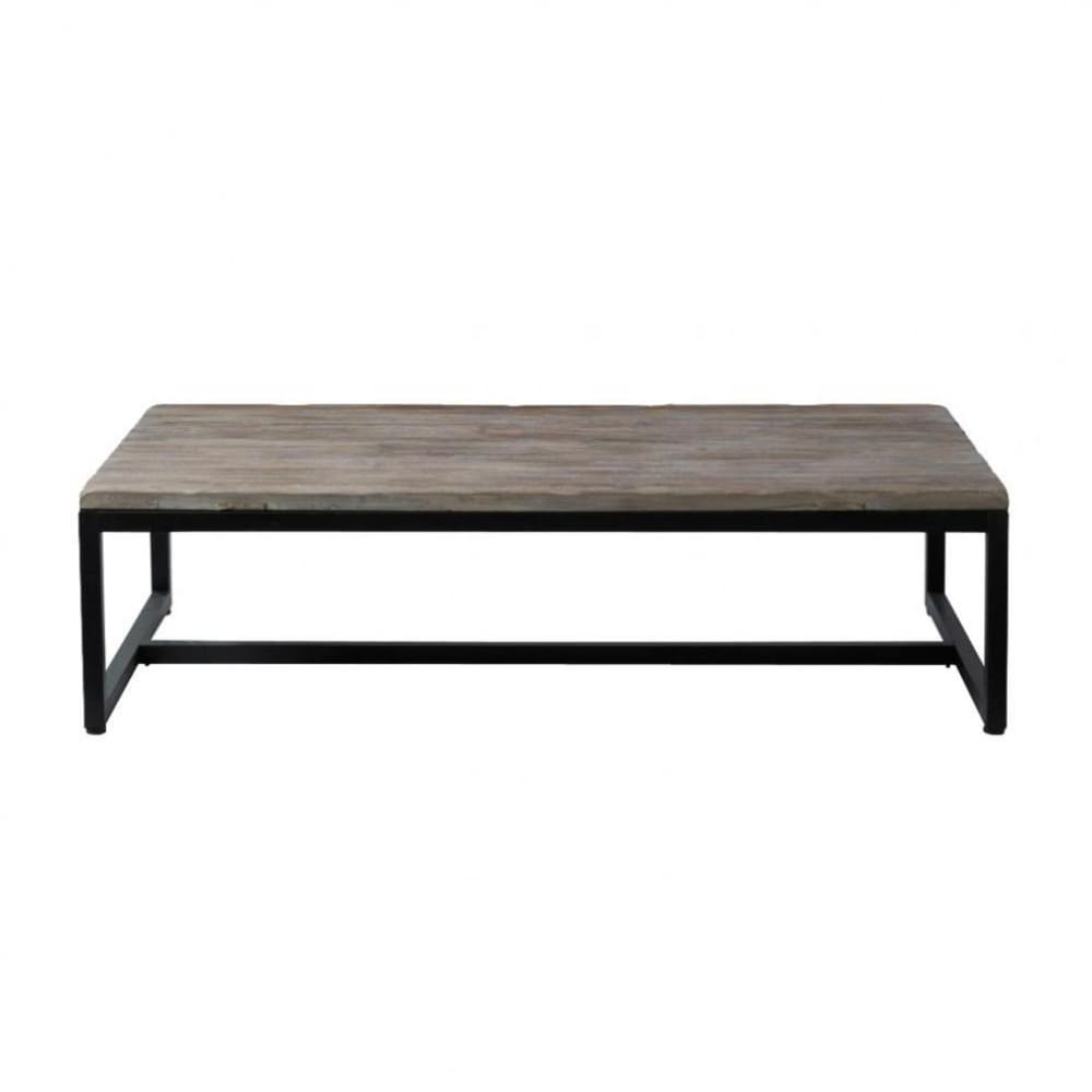 Table basse indus en bois et m tal long island maisons for Table basse maison du monde