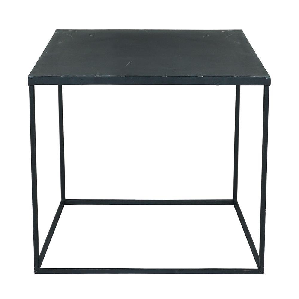 Table basse indus en m tal noire effet vieilli l 45 cm for Table de chevet metal