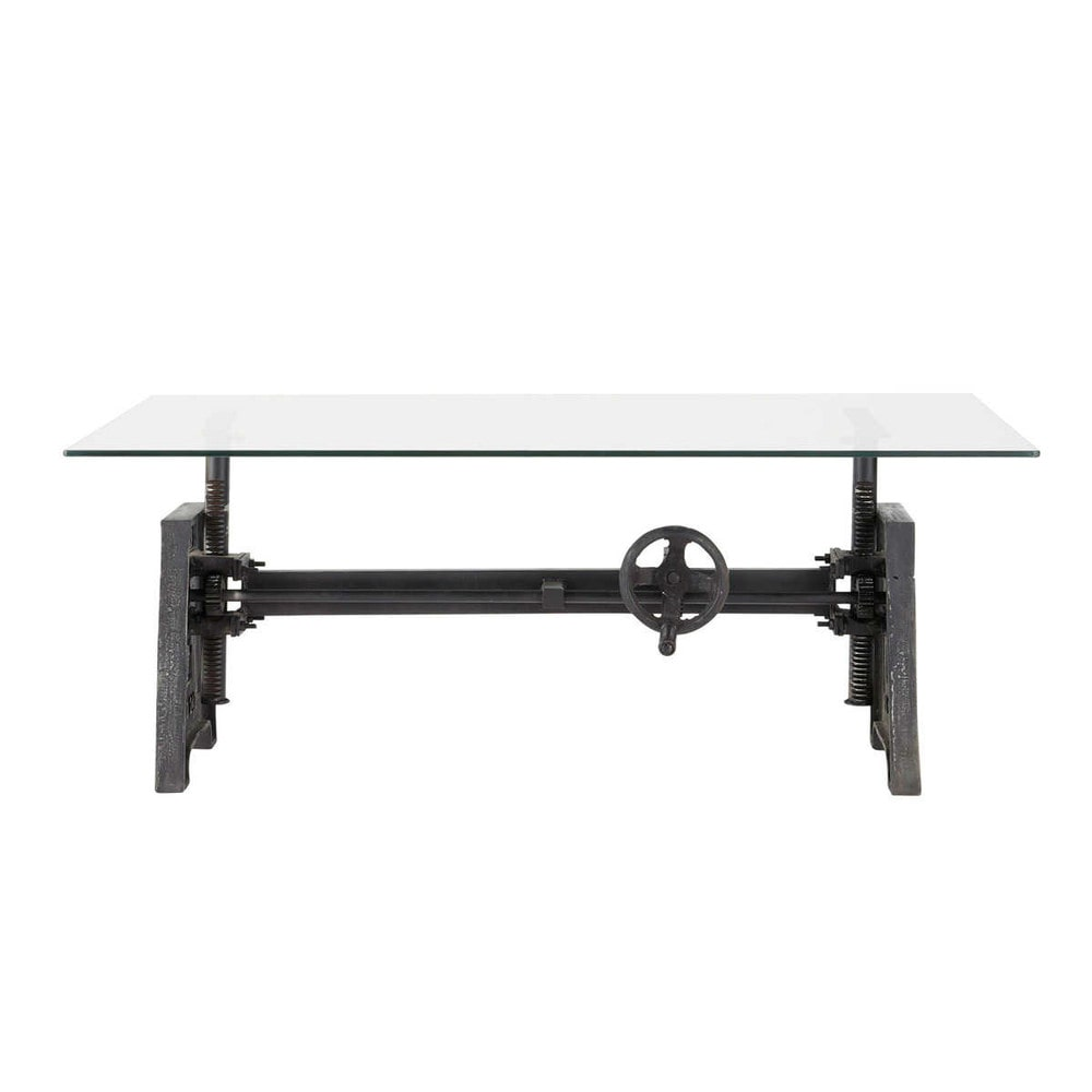 Table basse indus en verre et m tal l 135 cm garibaldi for Table basse verre metal