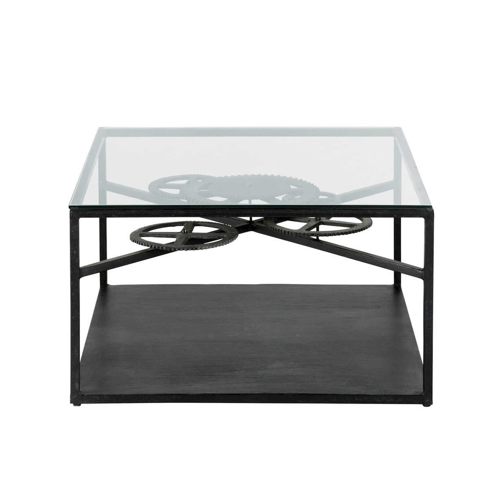 Table basse indus en verre et m tal l 80 cm rouage for Table basse verre metal