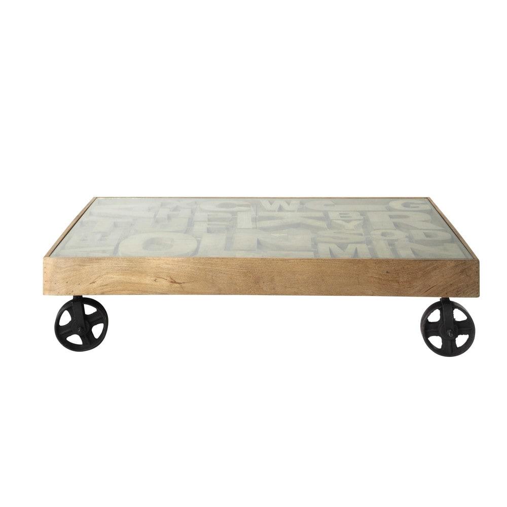 table basse indus en verre tremp et manguier massif l 120. Black Bedroom Furniture Sets. Home Design Ideas