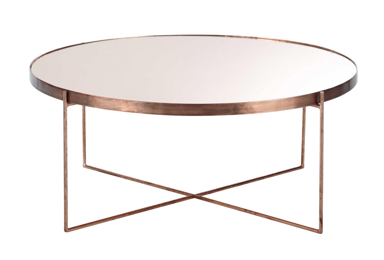 Table basse ronde avec miroir en métal cuivré Comète   Maisons du Monde 2666b3f1d518