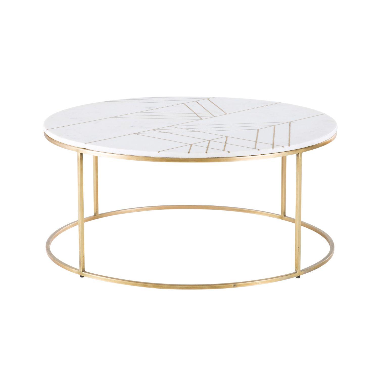 Table Basse Ronde En Marbre Blanc Et Fer Doré Izmir Maisons Du Monde