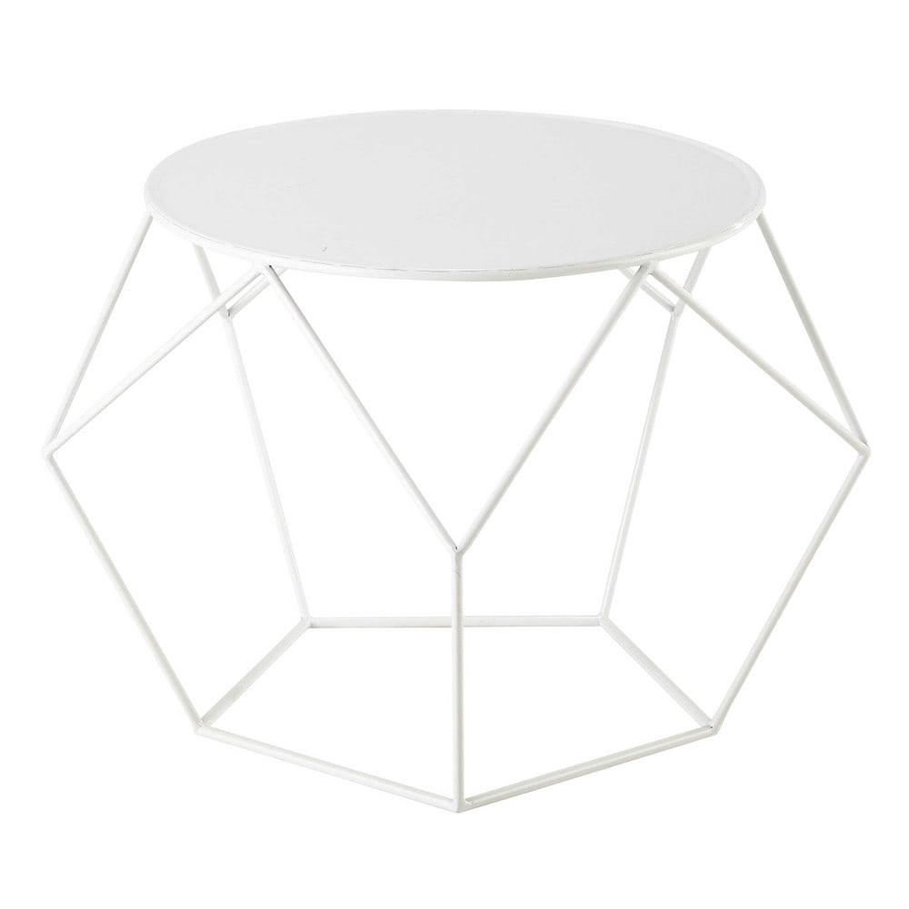 Table basse ronde en m tal blanche d 64 cm prism maisons - Table basse ronde metal ...