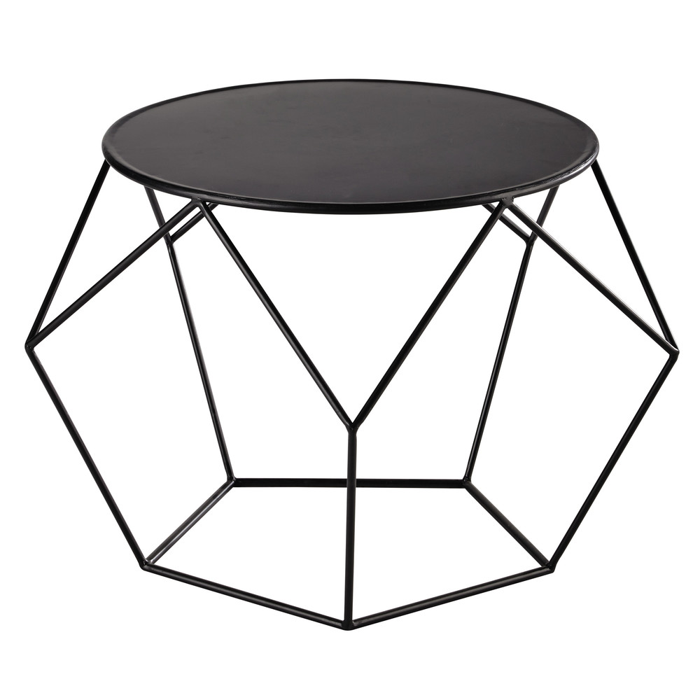 Table basse ronde en m tal noire prism maisons du monde - Table basse en metal ...