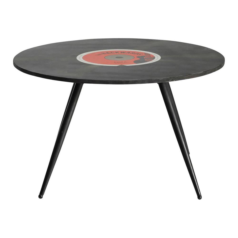 table basse ronde vintage en bois noire d 70 cm vinyl. Black Bedroom Furniture Sets. Home Design Ideas