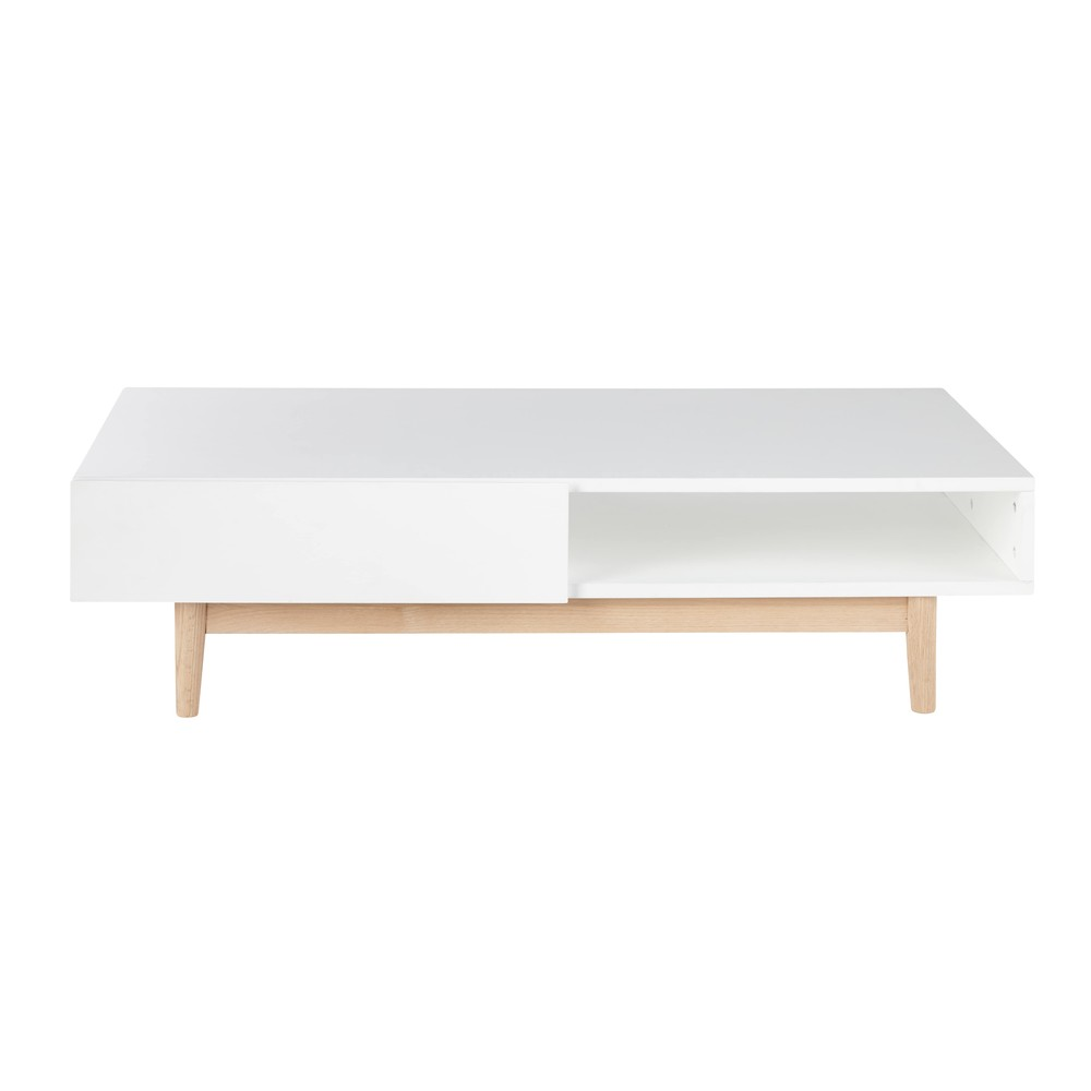 Table basse scandinave 2 tiroirs blanche artic maisons - Table de salon style scandinave ...