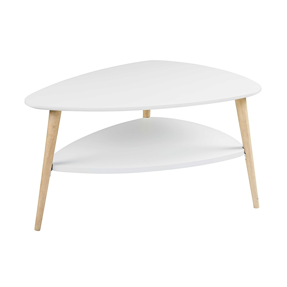 Table basse scandinave blanche spring maisons du monde for Table basse blanche pied bois