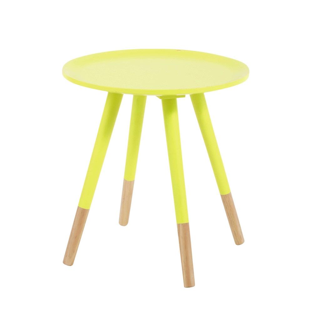 Table basse vintage en bois jaune fluo L 40 cm Dekale ...