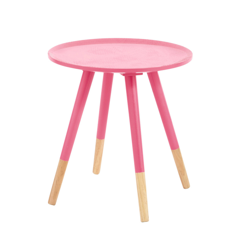 table basse vintage en bois rose fluo l 40 cm dekale maisons du monde. Black Bedroom Furniture Sets. Home Design Ideas