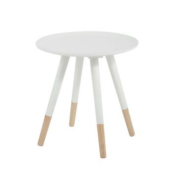 Table basse vintage ronde en bois blanche d 40 cm dekale - Table basse blanche en bois ...