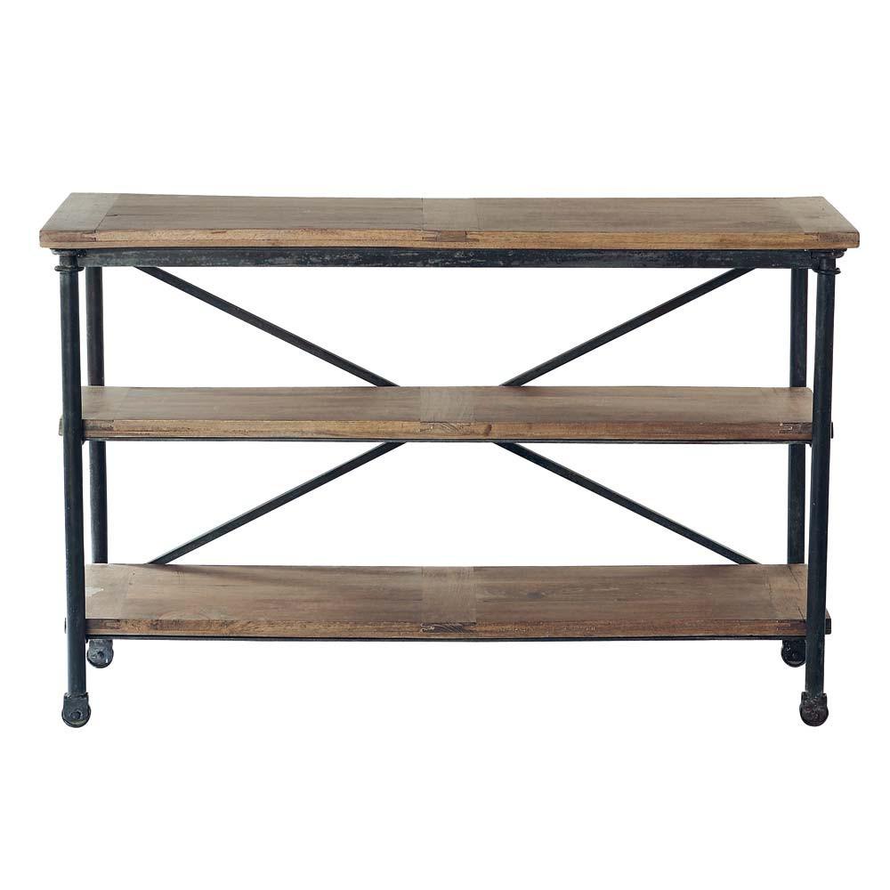 Table console roulettes en m tal et manguier massif noire l 130 cm archibal - Table basse du bout du monde ...