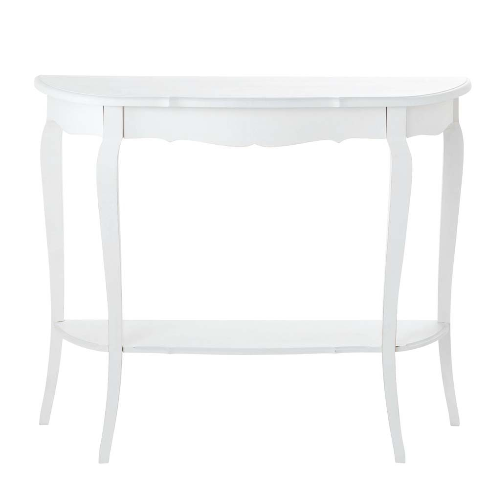 table console en bois blanche l 94 cm s raphine maisons. Black Bedroom Furniture Sets. Home Design Ideas