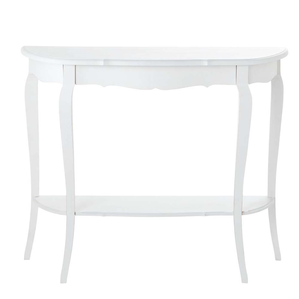 Table console en bois blanche l 94 cm s raphine maisons - Table en bois blanche ...