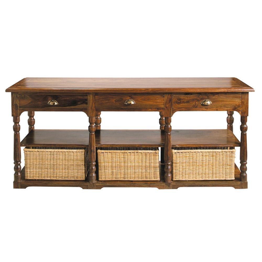 Table console en bois de sheesham massif l 180 cm luberon for Table console en bois