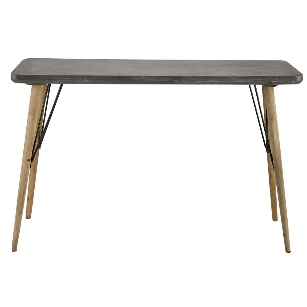 Table console en bois grise l 120 cm cleveland maisons for Maison du monde table