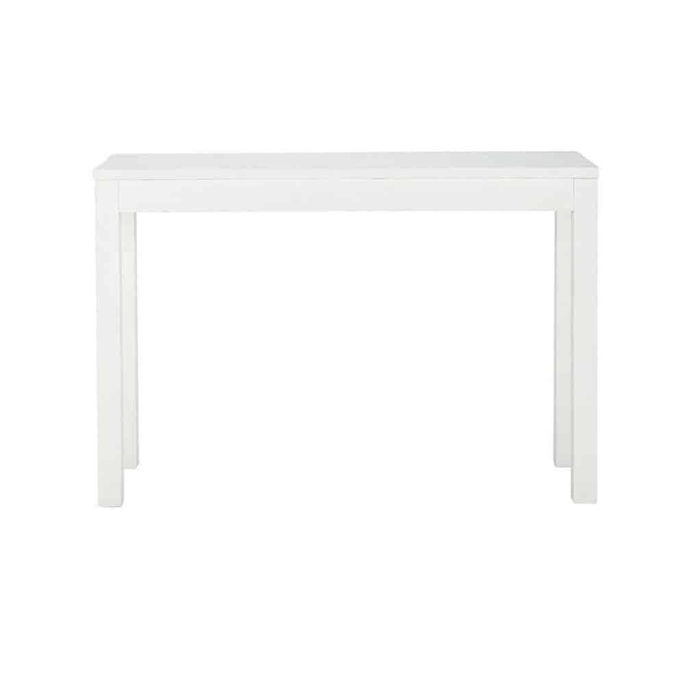 Table console en bois massif blanche l 120 cm white maisons du monde - Meuble console blanche ...