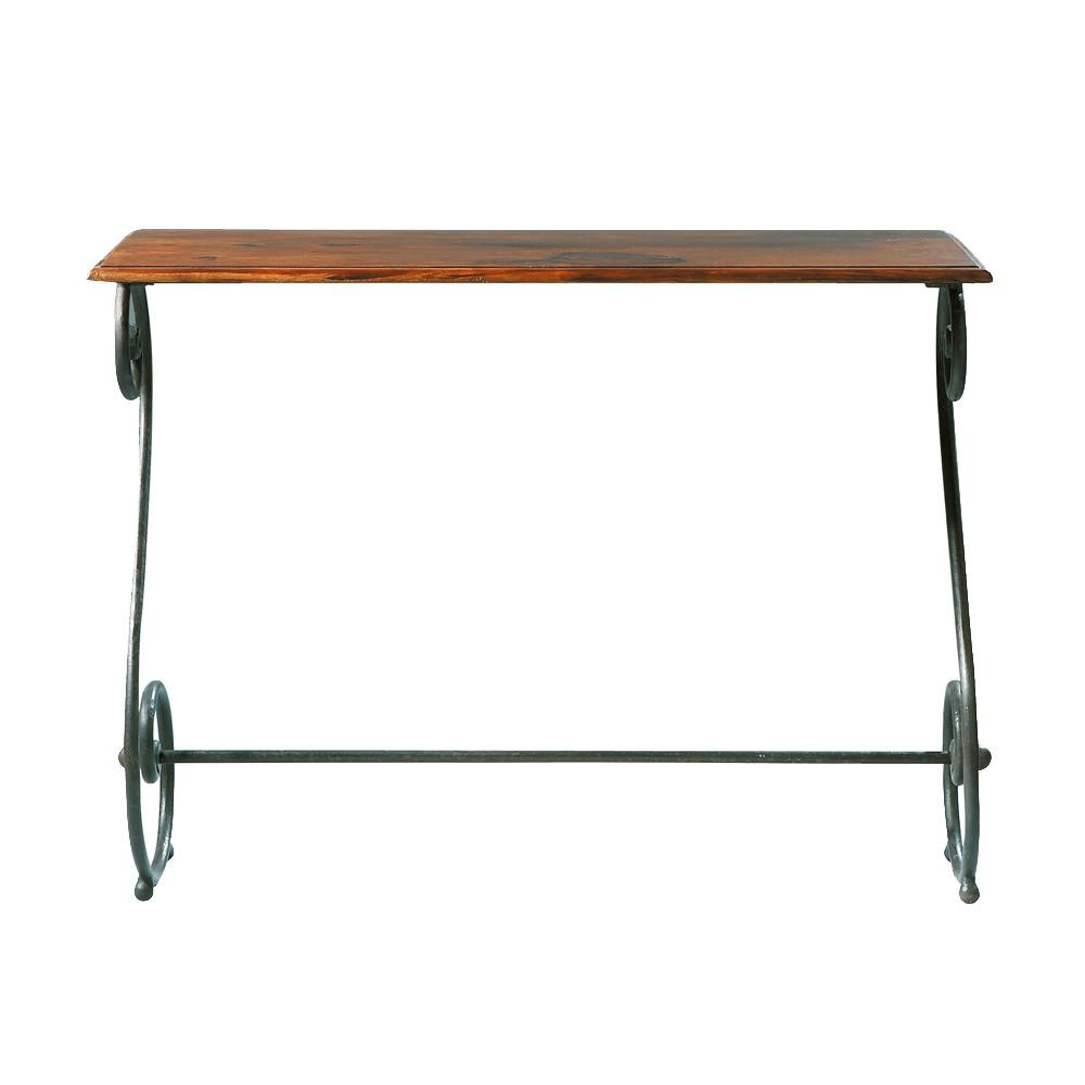 Table console en fer forg et bois de sheesham massif l for Table en bois et fer