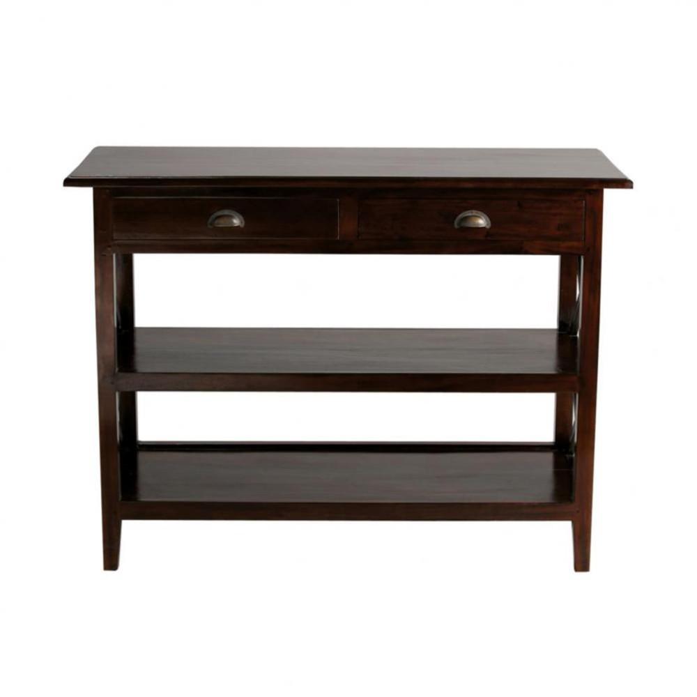 Table console en mahogany massif l 110 cm acajou maisons for Maison du monde compte