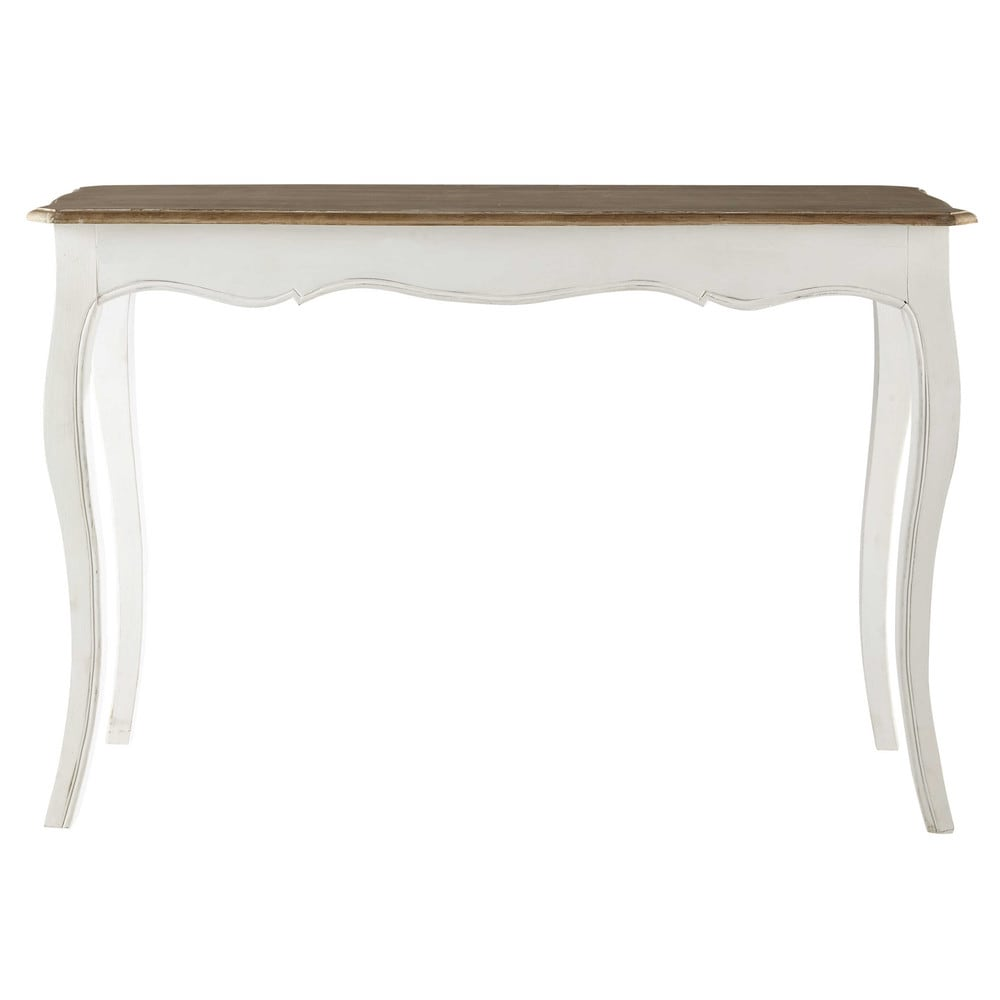 table console en manguier massif blanche l 116 cm versailles maisons du monde. Black Bedroom Furniture Sets. Home Design Ideas