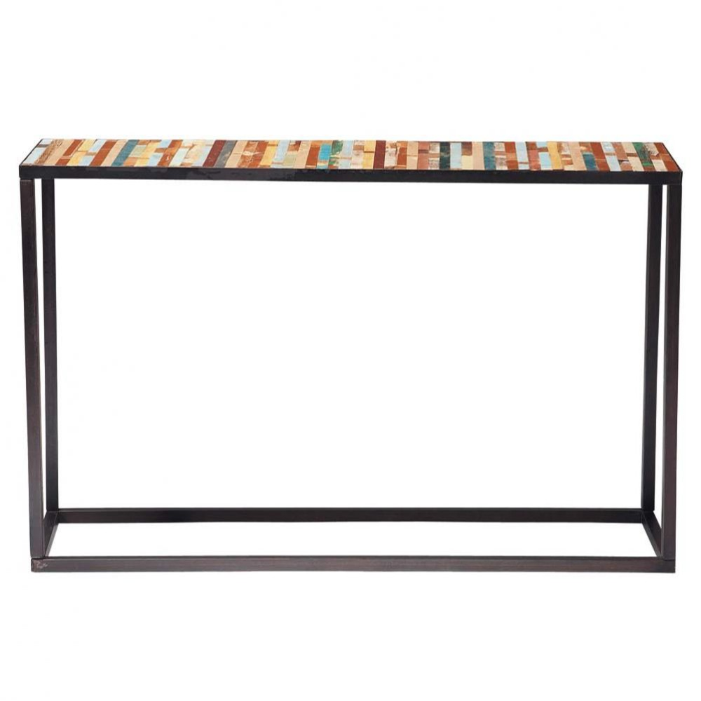table console en m tal et bois multicolore l 120 cm bahia. Black Bedroom Furniture Sets. Home Design Ideas