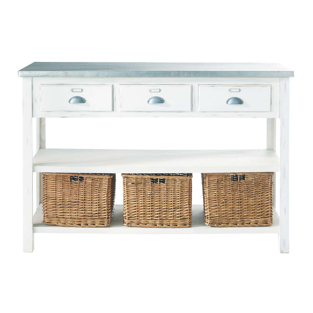 table console en ton blanc et rotin l 130 cm sorgues maisons du monde. Black Bedroom Furniture Sets. Home Design Ideas