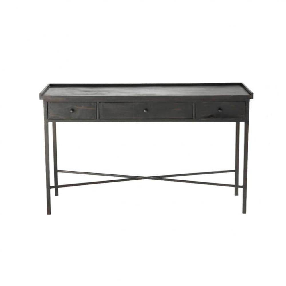 table console indus en m tal noire l 130 cm edison maisons du monde. Black Bedroom Furniture Sets. Home Design Ideas