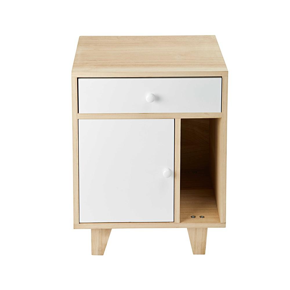table de chevet 1 porte 1 tiroir en paulownia blanc - Table De Chevet Tiroir