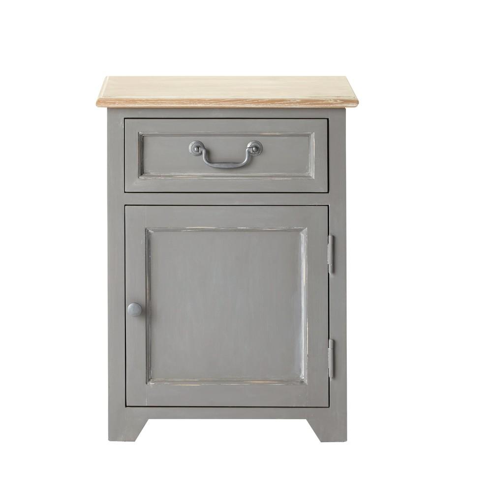 Table de chevet 1 porte 1 tiroir en pin gris honorine for Table de chevet exotique
