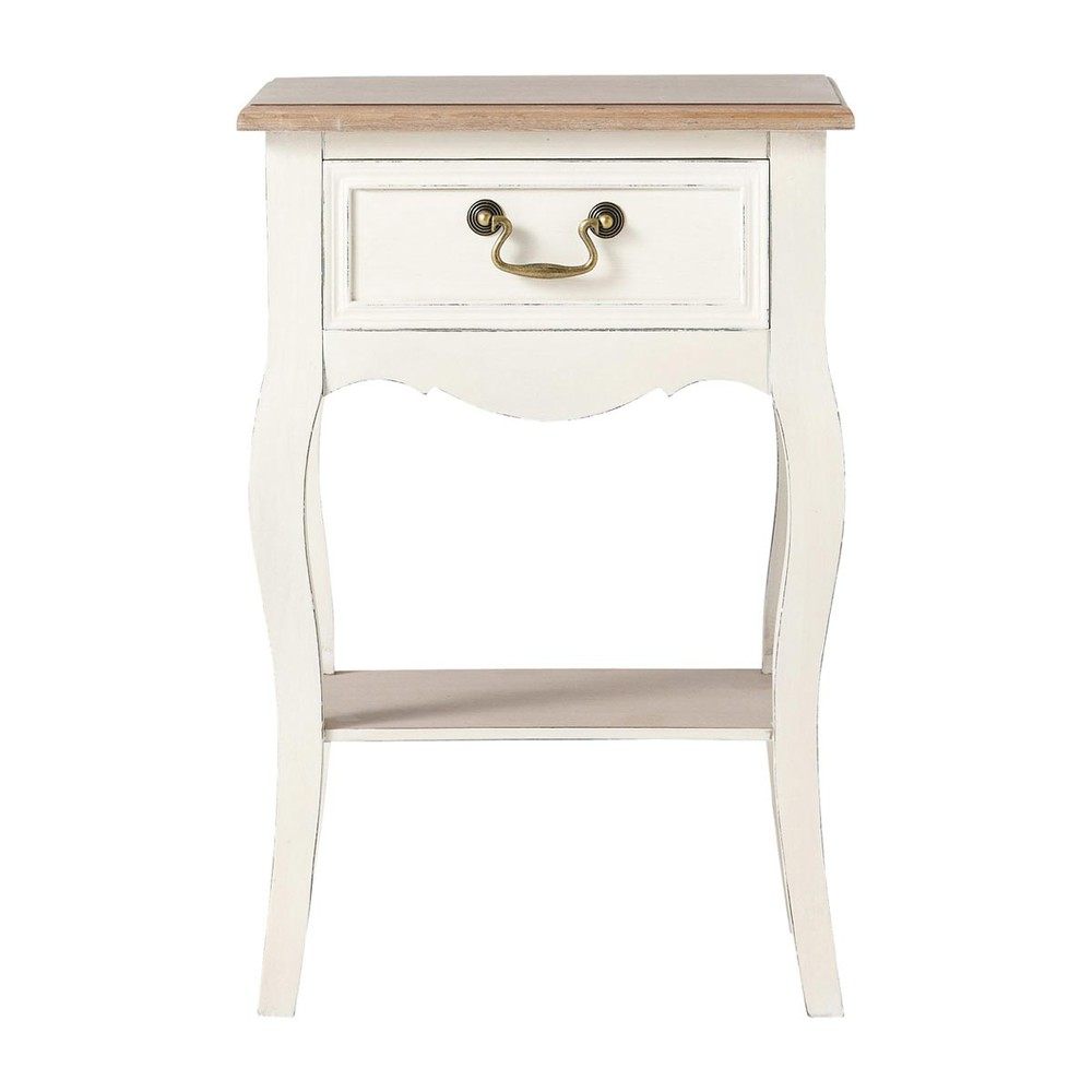 Table de chevet 1 tiroir cr me l ontine maisons du monde - Table de chevet maison ...