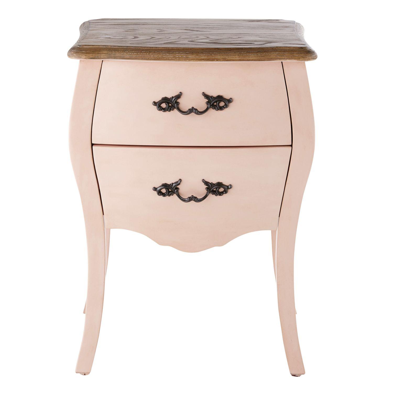 Table De Chevet 2 Tiroirs Rose Clair Haute Couture Maisons Du Monde